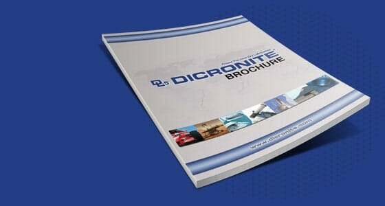 A single dicronite brochure against a blue background