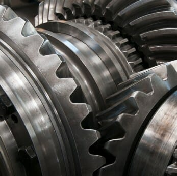 Gears that are coated in Dicronite to avoid galling.